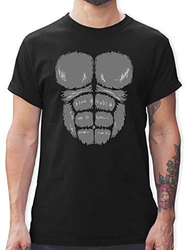 Kostüm Gorilla Schwarzes Herren - Karneval & Fasching - Gorilla Kostüm Fasching - XL - Schwarz - L190 - Herren T-Shirt und Männer Tshirt