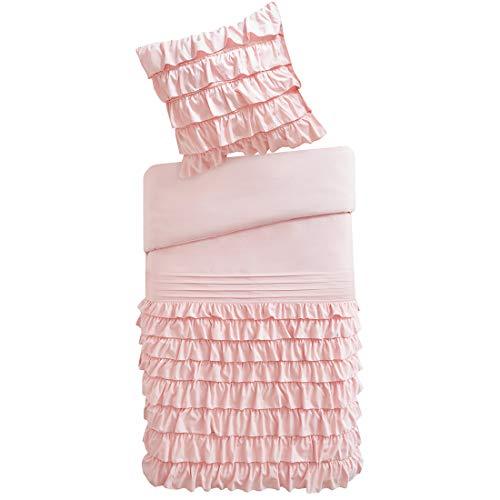 Rüschen-kissen (SCM Bettwäsche 135x200cm Blush Rüschen Uni Einfarbig Romantisch & Weich 2-teilig Bettbezug & Kissenbezug 80x80cm Mikrofaser Ideal für Schlafzimmer Waterfall)