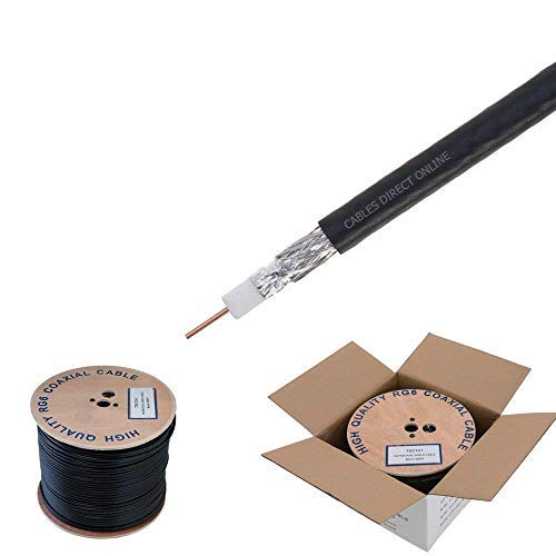 RG6Dual Shield Kabel, 18Awg Kupfer CCS Dirigent, PE-Schaum Kern, 60% Aluminium, PVC-Mantel, Rolle in Box, schwarz, 4330427097 -