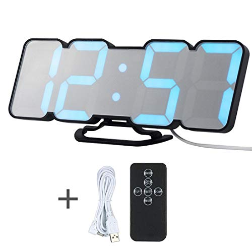 GSODC 3D LED Digital Despertador, Reloj de Pared electrónico, Despertador con 3 Niveles de Brillo Ajustables...