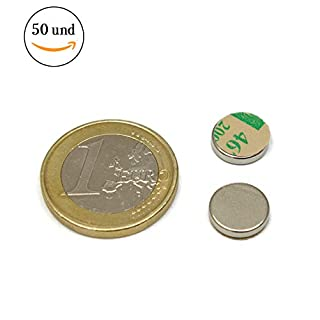 50pieces of Iman Neodymium Magnet with Adhesive-10mm Diameter x 2mm thick-Atraccion Force of 1.34kg-2500Gauss