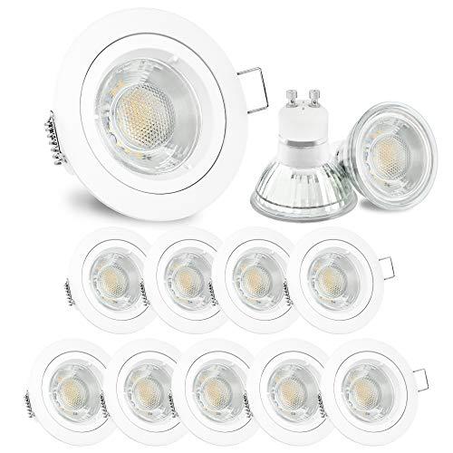 10 Stück LED Einbaustrahler Set weiß lackiert matt rund warmweiß 3W 230V - linovum® Einbauleuchte Anschluss ohne Trafo inkl. GU10 Fassung -