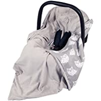NEW!! UNIQUE DOUBLE-SIDED CAR SEAT GREY/GREY OWLS BLANKET / COVER / COSYTOES - FOOTMUFF! 100x100cm - BLANKET WITH SEAT BELT HOLES