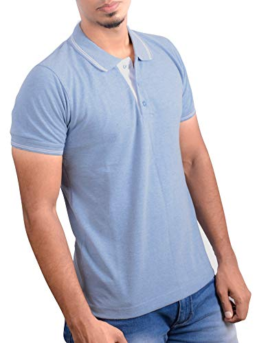 Ruffty Men's Cotton Polo Collar Half Sleeve T-Shirt (Light Denim, 3XL)