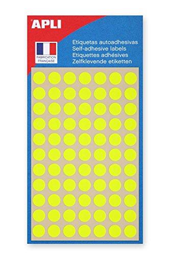 AGIPA Lot de 5 Sachets de 385 étiquettes Gommettes de signalisation Rondes 8 mm Jaune fluo