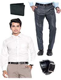 Combo Of Light Blue Formal Trouser, Shirt, Belt & Wallet - B06Y36Y2DQ