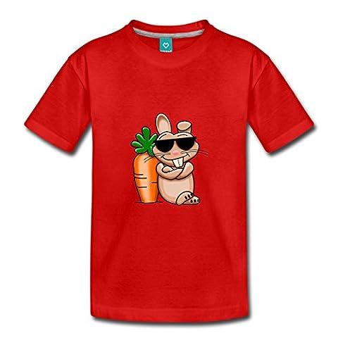 Lapin Végétarien Cool Avec Carotte T-shirt Premium Enfant de Spreadshirt®, 122/128 (6 ans),