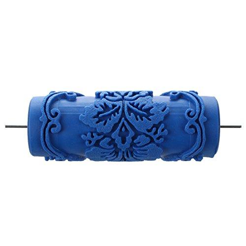 TOOGOO (R) Rodillo para impresion decorativa en paredes, 15 cm, motivo de flores, color azul