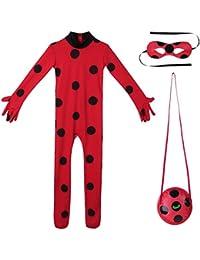 Alvivi Disfraz Infantil para Niña Conjunto Traje Mariquita Cosplay 3Pcs de Halloween Navidad Feista Bodysuit Leotardo
