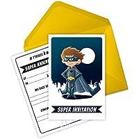 6 Miniz Invit' et enveloppes- cartes invitation anniversaire inspirées de Batman - Bat le Super-Heros (en français)