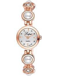lvpai–lujo elegante Faux Pearl Rhinestone Esfera Redonda Pulsera analógico reloj de pulsera–banda de oro rosa