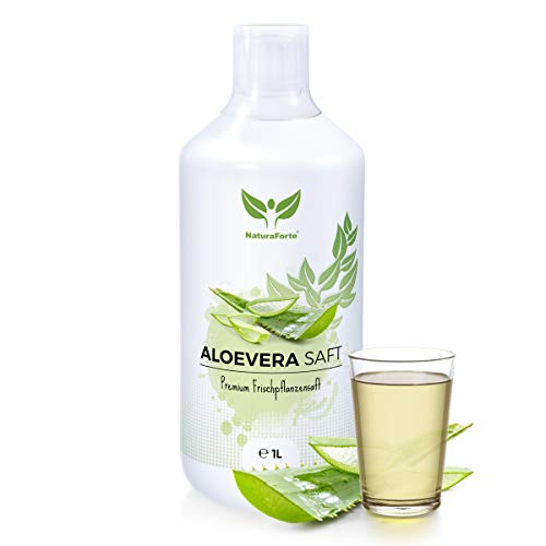 NaturaForte Aloe Vera Saft 1L - Handfiletiert, Premium 100% Direktsaft, 1500mg pro Liter Aloverose, Frischpflanzen-Saft zum Trinken, Aloe barbadensis miller Pflanze -