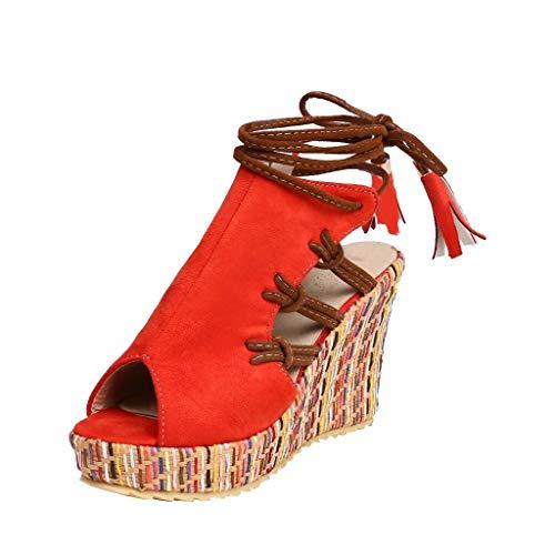 Frauen Bohemian Ethnic Fashion Open Toe Farbe Samt Keilabsatz Riemchen Sandalen Herde Offene Spitze der weiblichen Mode im böhmischen Ethno Stil mit farbigen Sandalen mit Samtkeilabsatz