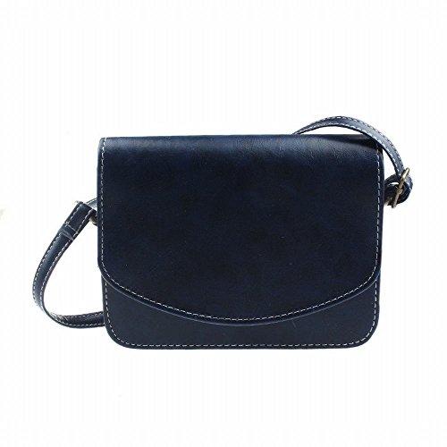 Zolimx Damen Kunstleder Umhängetasche Satchel Retro Messenger Handtasche (Blau) (Unterschrift Handtasche Bag Hobo)