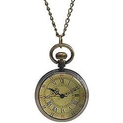 Souarts Color de bronce antiguo reloj de bolsillo números romanos esfera redonda con cadena 82cm