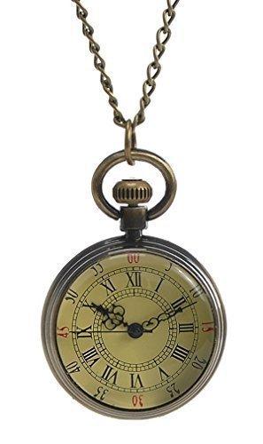 Souarts Unisex Bronze Taschenuhr mit Gravur Römische Ziffern Skala Quarz Uhr mit Kette Batterie