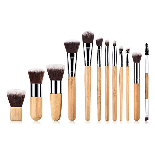 Cdet 12Pcs Kit De Pinceau Maquillage avec Manche en bambou Brosse plate Make Up Brush Ensemble Fondation Mélange Blush Yeux Visage Cosmétiques Kaki