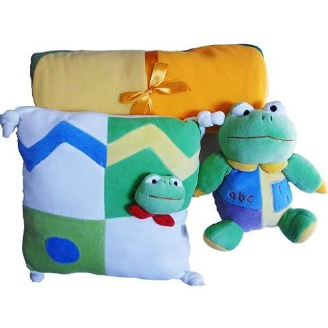 Cuscino peluche Copertina per neonato a forma di rana, colore: verde/giallo