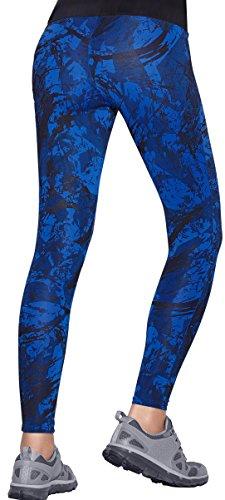 Haby Leggings Ajusté pour Femme Gym Musculation Collants de Course Ceinture large Bleu
