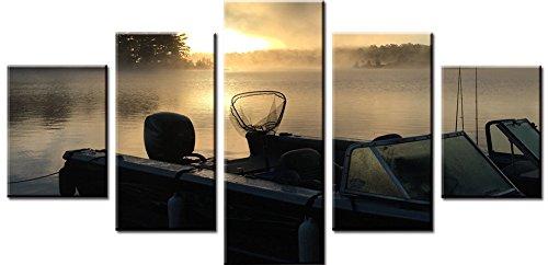 obella Modern Leinwand Bilder Drucke Art Wand 5Stück || Sunrise See Angeln Boot || Poster Öl Gemälde Prints und Bilder Foto Wand Kunst für Zuhause decoration-frameless (Boot-rack Ski-und)
