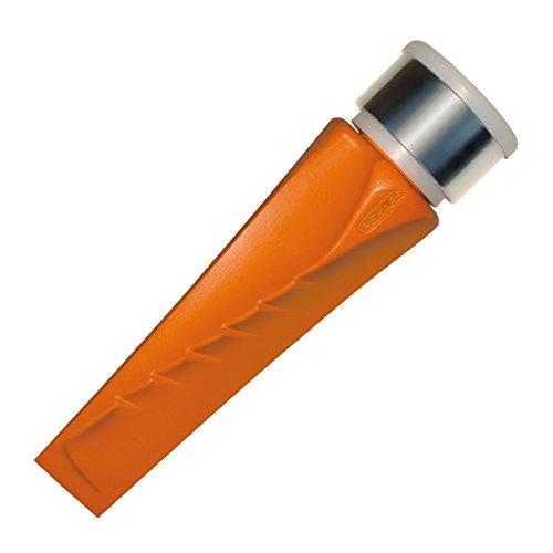 Fiskars Dreh-Spaltkeil, Gehärteter Stahl (geschmiedet), Polymer-Schlagfläche mit Metallring, Orange, SAFE-T, 1001615 Stahl-safe