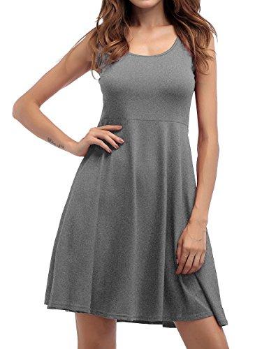 ZJCTUO Damen Ärmelloses Beiläufiges Strandkleid Sommerkleid Tank Kleid  Knielang Grau b4e04ab795