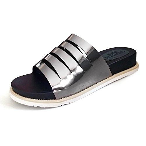 PENGFEI Mules Femme Pantoufles féminines Mode personnalité été Chaussures antidérapantes Bottines minces à mi-hauteur Confortable et respirant ( Couleur : Violet , taille : EU36/UK4/L:230mm ) Silver