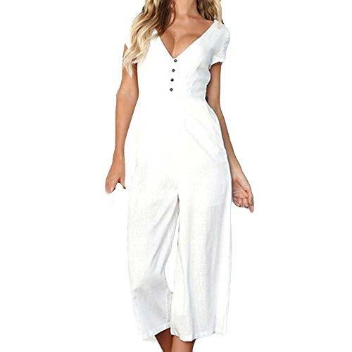 ashion Damen Büro Arbeit Formal Reisen V Neck Overall Sommer Kurzarm Breites Bein Hose Clubwear Playsuit(Weiß,EU-38/CN-S) (Saudi Arabische Kostüme Für Frauen)