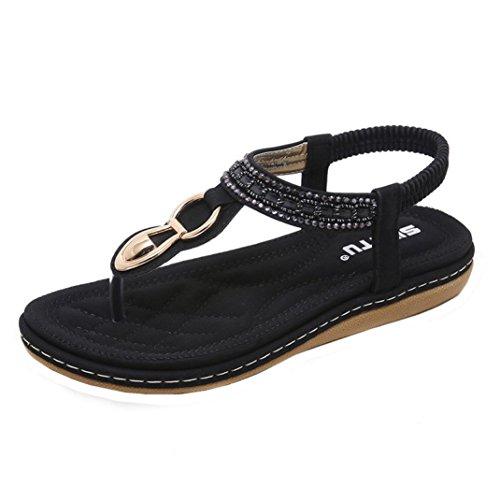 VJGOAL Damen Sandalen, Frauen Mädchen böhmischen Mode Flache beiläufige Sandalen Strand Sommer Flache Schuhe Frau Geschenk (38 EU, W-schwarz)