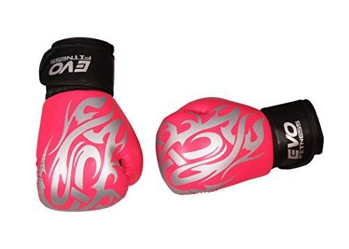 Evo Fitness Damen Rosa GEL Rex-leder Boxhandschuhe Boxsack MMA Muay Thai Kampfsport Kickboxen - Rosa, 10oz