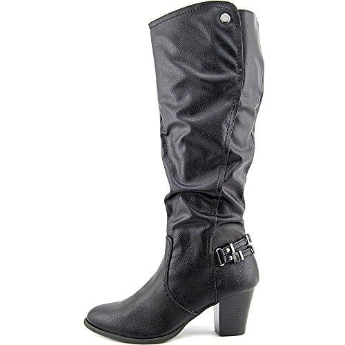 White Mountain Inbound Damen Rund Kunstleder Mode-Knie hoch Stiefel Black