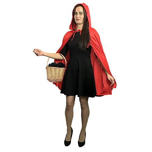 Wolf Kostüm Rotkäppchen Big Und Bad - sowest Erwachsene Damen Kurz Rotkäppchen Umhang & Kapuze Mantel Kostümfest