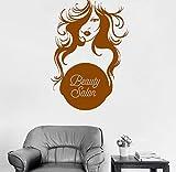 CQAZX Salone di bellezza Pretty Girl Vinile Adesivo Donna Parrucchiere Insegna Decor Adesivi Bagno Ragazze Camera da letto Art Mural 56 * 79cm