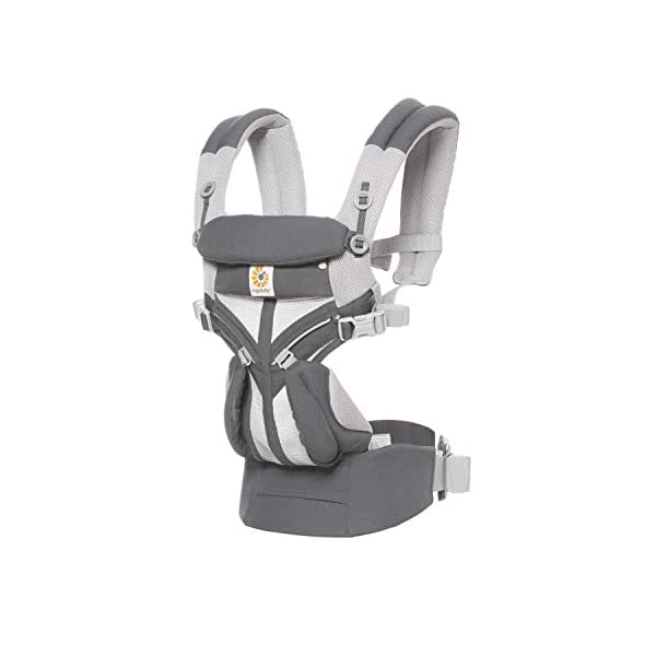 Ergobaby Baby Carrier for Newborn to Toddler, 4-Position Omni 360 Cool Air Carbon Grey, Breathable Ergonomic Child Carrier & Backpack Ergobaby BABY CARRIER FOR NEWBORN - Adapts to your growing baby from birth to toddler (7-45lbs). 4 carry positions: front-inward, back, hip, and front-outward. A Baby hood for sun protection (UPF 50+) & privacy for sleeping or breastfeeding is included. COMFORT - Exceptional lower back comfort with padded lumbar support waist belt & extra padded shoulder straps with the option to wear 2 ways: crossed or backpack style. Waist belt can be worn high or low to maximize comfort. COOL & BREATHABLE - Our Cool Air Mesh baby carriers are made with soft and durable mesh fabric that provides our renowned ergonomic support for baby while allowing for ultimate breathability and airflow 3