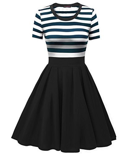 VESSOS Damen Kleid Vintage A-Linie Kurzarm Streifen Cocktailkleid Blau Weiß