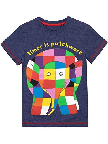 Elmer Camiseta de Manga Corta para niños Azul 4-5 Años