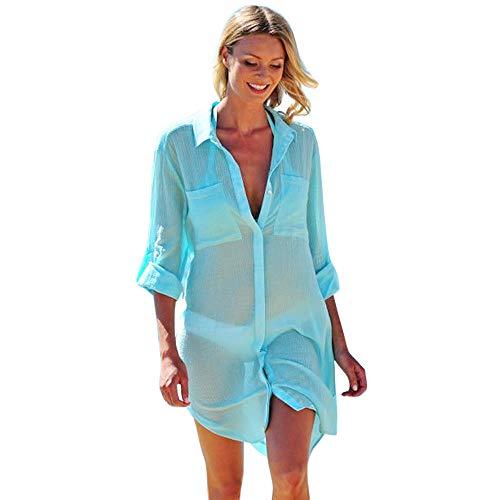 WWricotta Women Long Sleeve Mesh Bikini Cover Up Beach Sunscreen T-Shirt Blouse GN/S(Grün,S) - Active Sunscreen