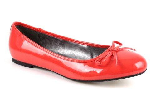 Klassische Ballerinas mit Schleife. Lack Rot. Gr. 44