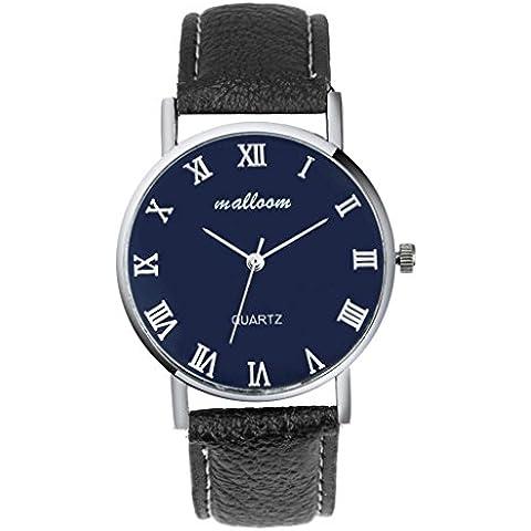Relojes Hombre,Xinan Imitación de Cuero Lujo del Reloj Análogo Relojes Nueva (Negro)