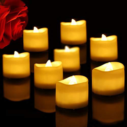Liqoo 12 x led candele super mini tremolante mobile 3,5 x 3 cm senza fiamma fumo batteria interno esterno risparmio energia chiesa natale halloween nozze matrimonio compleanno regalo feste casa giardi