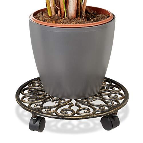 Relaxdays Pflanzenroller Gusseisen rund Ø ca. 33,5 cm Blumentopfuntersetzer aus Metall mit 4 Rollen Blumenroller im antiken Design Rolluntersetzer im Jugendstil stabil und wetterfest, bronze -