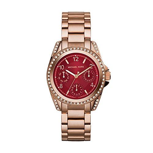 Michael Kors MK6092 - Reloj de cuarzo para mujer, correa de acero inoxidable chapado color oro rosa