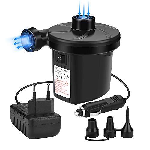 Awroutdoor Elektrische Luftpumpe, 2 in 1 Elektropumpe Power Pump mit 3 Luftdüse für aufblasbare Matratze, Kissen, Bett, Boot - Aufblasen Boot