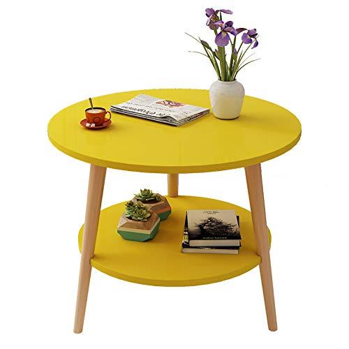 YLPDS Nordic modernen Wohnzimmer Couchtisch, doppelte Lagerung Massivholz Runde Teetisch Freizeit Sofa Leseschreibtisch/Nachttisch,Yellow-48 * 50cm