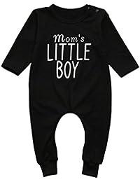Ropa bebé niño infantil Recién nacidos Niños Bebés Carta Imprimir Mameluco Mono Pijamas Trajes de Ropa Amlaiworld (Negro, Tamaño:0-6Mes)