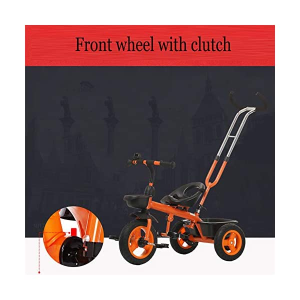GSDZSY - Baby Child Tricycle,with Removable Push Handle Bar,Shock Absorption EVA Wheel,With Seat Belt And Bell,1.5-5 Years,White GSDZSY ❀ Material: high carbon steel + ABS + EVA, suitable for children aged 1-5 ❀ Features: The push rod can be adjusted to the height, can control the direction, suitable for people of different heights; the seat can be adjusted to facilitate the use of children of different heights; the foldable center footstool with seat belts and brakes ❀ Performance: high carbon steel frame, sturdy and durable; EVA wheel anti-slip, wear-resistant, suitable for all road conditions, good shock absorption, seat with soft material, baby ride more comfortable 5