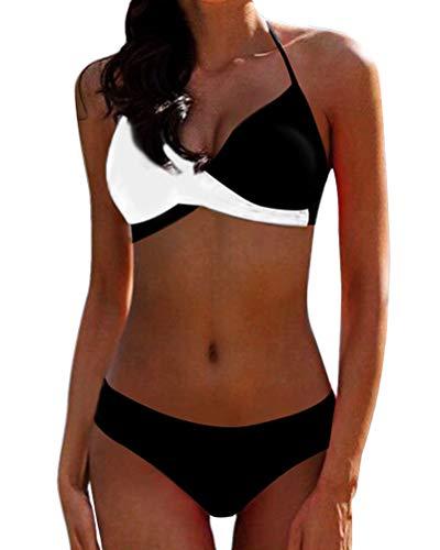 OranDesigne Damen Bikini Set Badeanzug Sexy Halter Strandmode Bademode Farbblock Zweiteilige Badeanzug Push Up Bikinioberteil mit Nackenträger Schwarz/Weiß DE 44