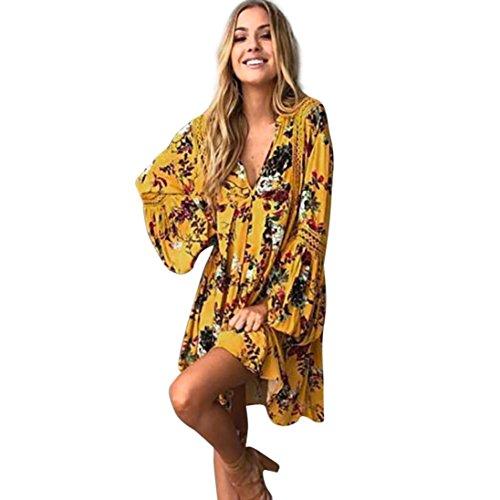 Cooljun Boho Kleid Damen Sommerkleid Strand Blumendruck Minikleid Frauen Partykleid Kleider V-Ausschnitt Kleidung Sexy Cocktailkleid (XL, Gelb)