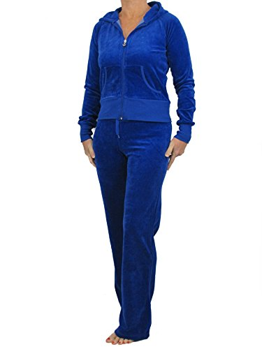 Love Lola Damen Velour Trainingsanzug Damen Full Luxury Jogginganzug Hoodys Hoodies Jogginghose Heart Designer Inspired ( 10 / Small, Royal Blue ) -