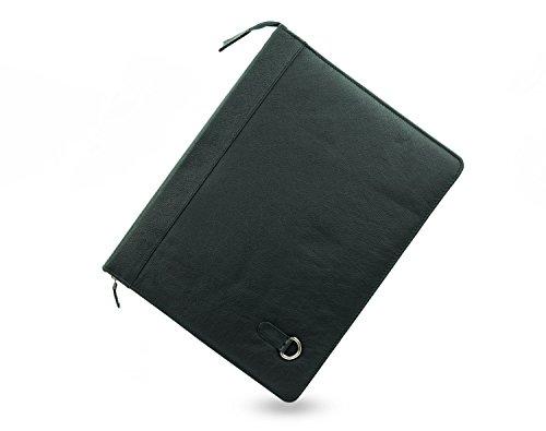 Porte documents conférencier zippé + bandoulière - en cuir de buffle - noir